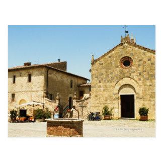 Facade of a church, Romanesque Church, Piazza Postcard