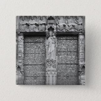 Facade of Notre-Dame, left portal, Paris Pinback Button