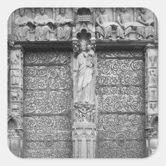 Facade of Notre-Dame, left portal, Paris Square Sticker