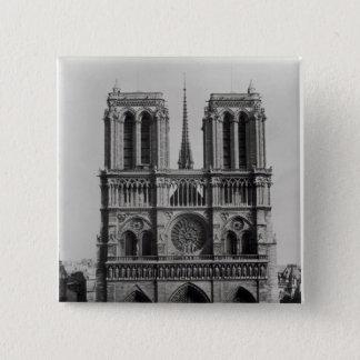 Facade of Notre-Dame, Paris, late 19th century Pinback Button