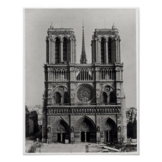 Facade of Notre-Dame, Paris, late 19th century Poster
