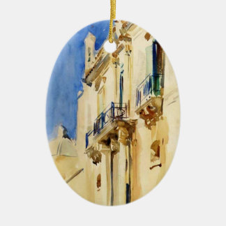 Façade of Palazzo,Girgente,Sicily by John Sargent Christmas Ornament