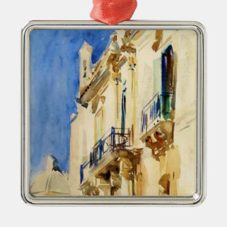 Façade of Palazzo,Girgente,Sicily by John Sargent Christmas Tree Ornaments