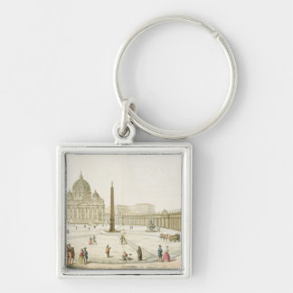 Facade of St. Peter's in Rome with the Piazza in f Keychain