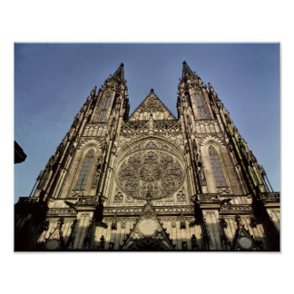 Facade of the Cathedral of St. Vitus Poster