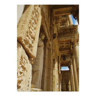 Facade Of The Celsus  Library  Ephesus, Selcuk Poster