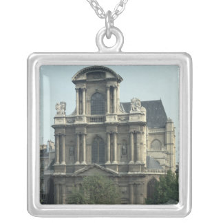 Facade of the Church of Saint-Gervais Silver Plated Necklace