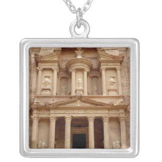 Facade of the Khazneh Firaoun Square Pendant Necklace