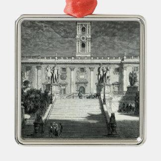 Facade of the Senatorial Palace, Rome Square Metal Christmas Ornament