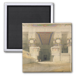 Facade of the Temple of Hathor 2 Inch Square Magnet