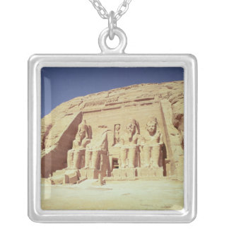 Facade of the Temple of Ramesses II Silver Plated Necklace