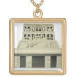 Facade of the Temple of the Sun, Palenque, plate 2 Personalized Necklace