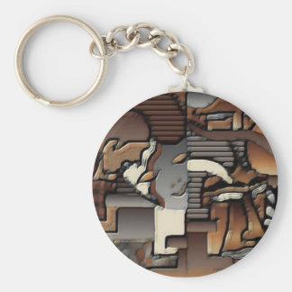 face 2 basic round button keychain