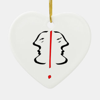 Face 2 Double-Sided heart ceramic christmas ornament