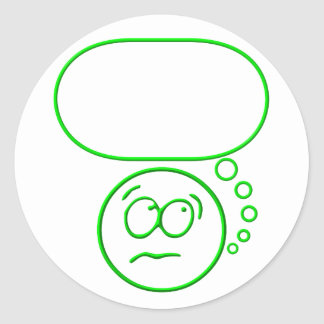 Face #2 (with speech bubble) classic round sticker