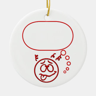 Face #3 (with speech bubble) ceramic ornament