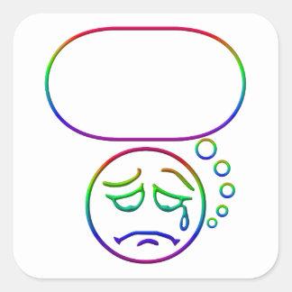 Face #6 (with speech bubble) square sticker