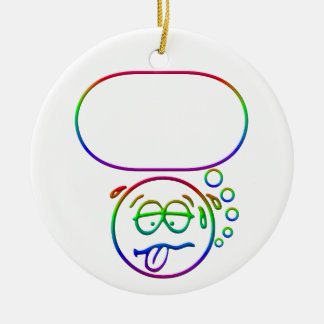 Face 9 with speech bubble christmas ornament