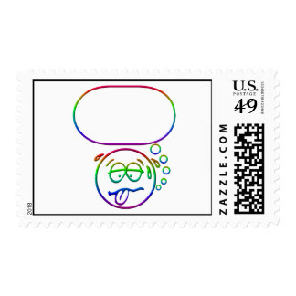 Face 9 with speech bubble postage stamps