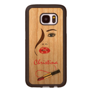 Face and Lipstick Carved® Wood Samsung S7 Cases