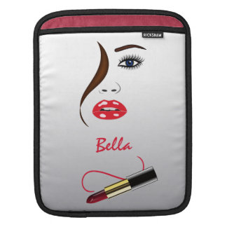 Face and Lipstick in Mirror iPad Sleeve Cover