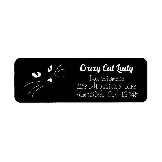 face black cat return address labels personalized zazzle com