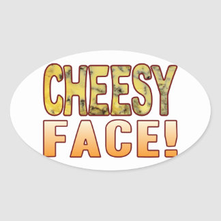Face Blue Cheesy Oval Sticker