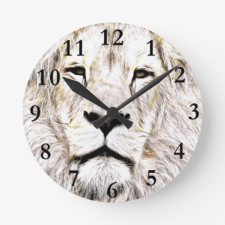 Face de leão Lion Face Löwen-Gesicht Face de Lion Round Clock