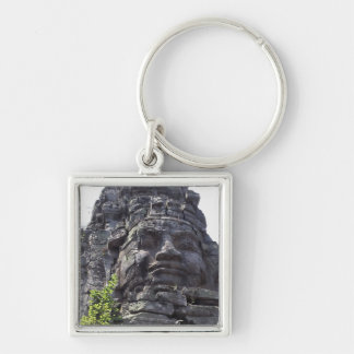 Face detail of the West Gate-Tower Gopuram), Silver-Colored Square Keychain