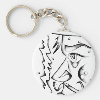 Face drawing sketch art handmade basic round button keychain