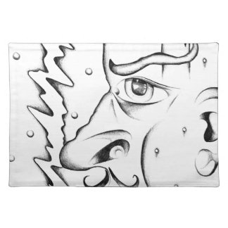 Face drawing sketch art handmade cloth placemat