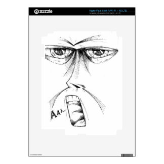 Face drawing sketch art handmade iPad 3 decals