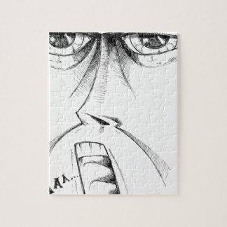 Face drawing sketch art handmade jigsaw puzzle