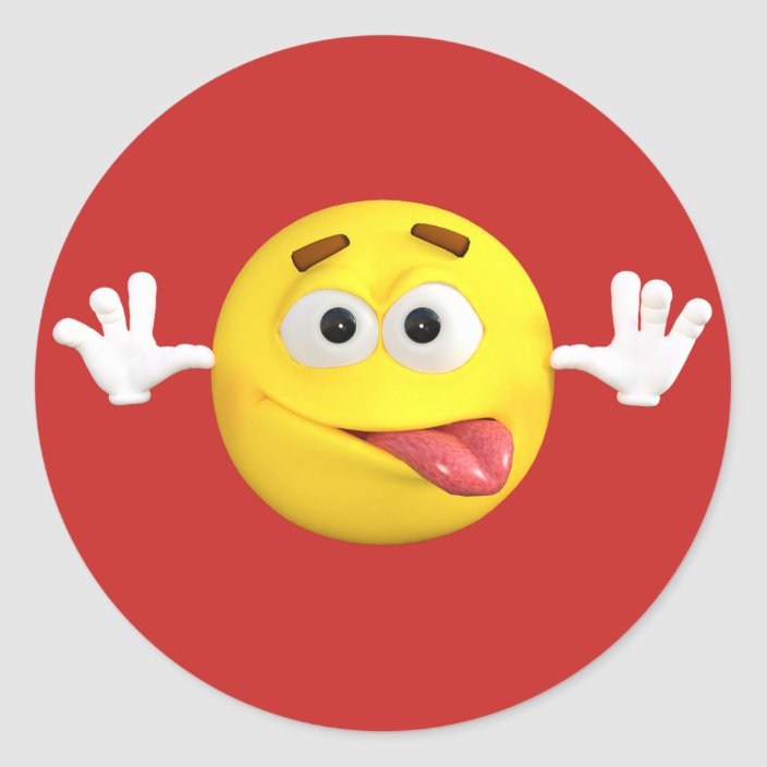 Face Emoji Sticking out Tongue Teasing Classic Round Sticker | Zazzle.com