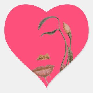 Face Flower Illusion Heart Sticker
