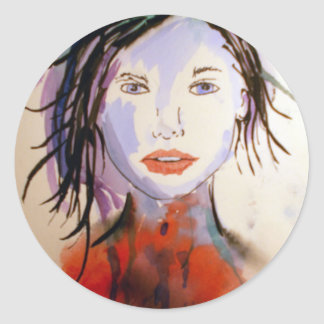 Face from palate classic round sticker