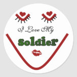 Face I love My Soldier Tshirts and Gifts Classic Round Sticker