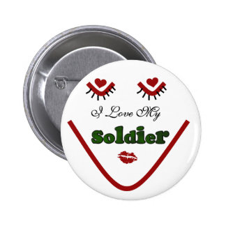Face I love My Soldier Tshirts and Gifts Pinback Button