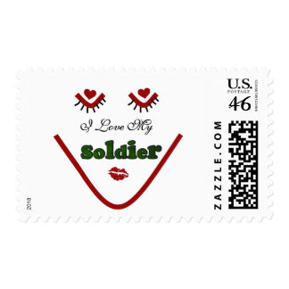 Face I love My Soldier Tshirts and Gifts Postage Stamps