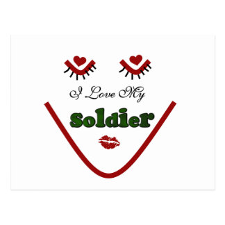 Face I love My Soldier Tshirts and Gifts Postcard