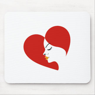 face in a red heart showing fertility mouse pad
