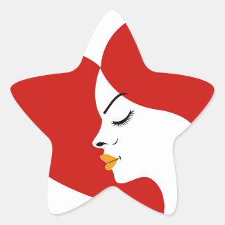 face in a red heart showing fertility star sticker