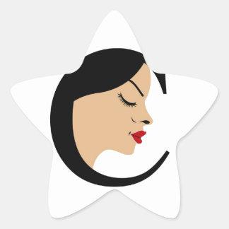 Face in alphabet C Star Sticker