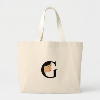 Face in alphabet G Large Tote Bag