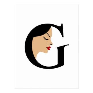 Face in alphabet G Postcard