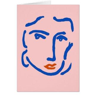 Visage dans le bleu, style de Matisse card