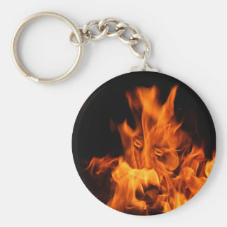 Face in flames keychain