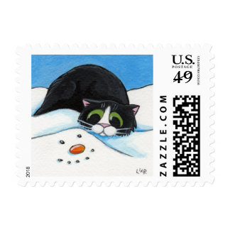 Face in the Snow - Christmas Cat Postage