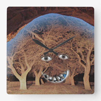 FACE IN THE TREES SQUARE WALL CLOCK