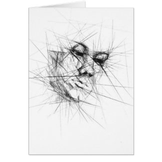 Face Line Art Greeting Cards